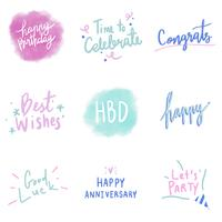 Set of colorful celebratory typography vectors