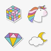 Set of magical unicorn stickers vector