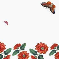 Papel pintado chino con flores y mariposas.