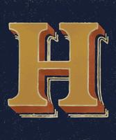 Capital letter H vintage typography style