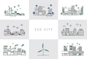 Illustration set of an eco city