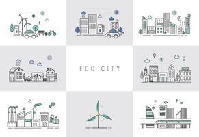 Illustrationssatz einer Öko-Stadt