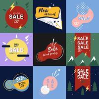 Conjunto de gráficos publicitarios de venta.