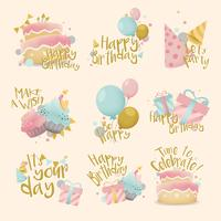 Collection of colorful birthday badge vectors