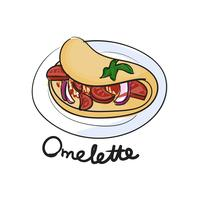 Illustration drawing style of omelette