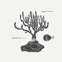 Dessin de plante marine et de poisson