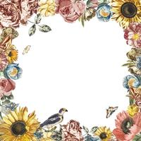 Vintage illustration of a frame made by flowers