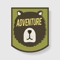 Oso aventura insignia gráfico ilustración vectorial