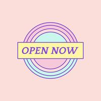 Vecteur de badge mignon et girly Open Now