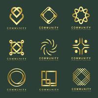 Conjunto de amostras de design de logotipo de marca de comunidade