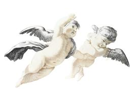 Vintage illustration of Two flying Putti