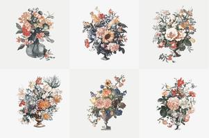 Ilustração Vintage de conjunto de vasos com flores