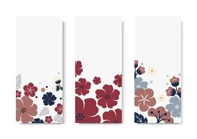 Colorful flower card template set