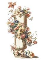 Weinleseillustration eines Vase mit einer Blumengirlande