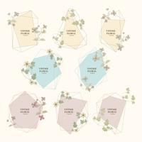 Illustrazione d'epoca di cornici floreali vintage.