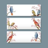 Design etichetta titolo pappagallo
