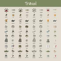 Estilo de dibujo de ilustración de la colección de iconos de camping.