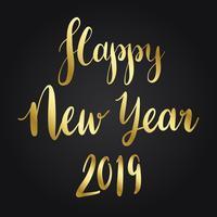 Feliz año nuevo vector de estilo de tipografía 2019