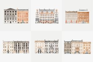 Ilustración vintage de conjunto de casas de canal en AmsterdamSet de casas de canal en Amsterdam