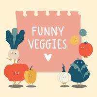 Nota de papel con vector de verduras divertidas