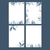 Set of leaves in watercolor with copy space vector