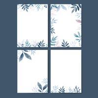 Satz Blätter im Aquarell mit Kopienraum