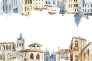 Illustration of Mediterranean city building exterior water color style
