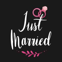 Just married typography vector in white