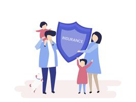 Karakter van een familie die een verzekeringsillustratie houdt