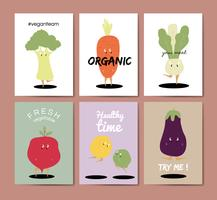 Vegetable cartoons greeting card vector set