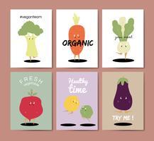 Gemüsekarikaturgrußkarten-Vektorsatz