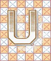 Capital letter U vintage typography style