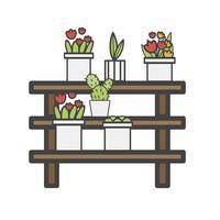 Illustration de plantes de cactus sur des étagères en bois