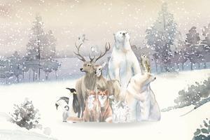 Gruppo di animali selvatici nella neve disegnata in acquerello
