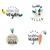 Sats med hälsosamma veganemblemsvektorer