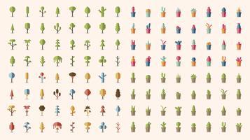 Samling av växter och trädvektorer