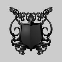 Zwarte barokke schild elementen vector