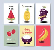 Tropical fruit cartoons greeting card vector set