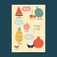 Autocollants de fruits drôles cartoon vector ensemble