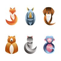 Conjunto de vectores de diseño animal geométrico.