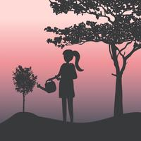 Silhouette of a girl watering a plant vector