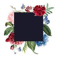 Conception de cartes d'invitation cadre floral