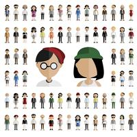 Set of diverse avatar character illustration