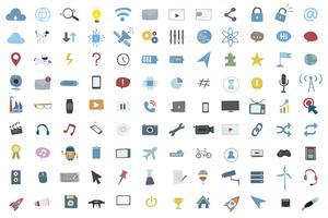 Conjunto de ilustración de vector de iconos de tecnología