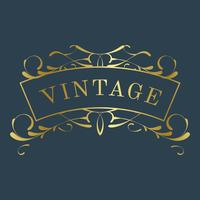 Vintage golden art nouveau badge on blue vector