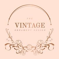 Vintage rose goud art nouveau badge vector