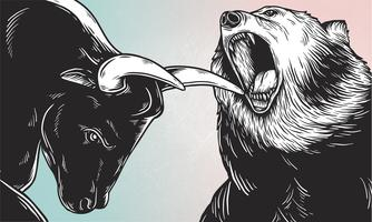 A bull and a bear fighting comic style vector