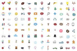 Coleção de ícones aleatórios e populares