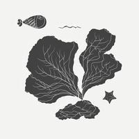 Cartoon tekening van zee-plant en vis