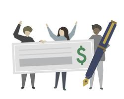 People holding a cheque and pen illustration